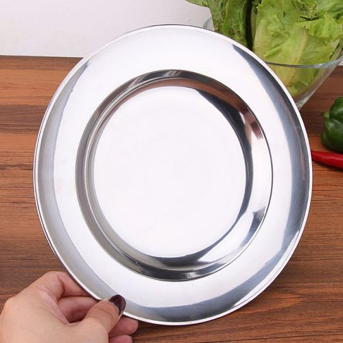 Stainless Steel Round Dinner Plate Dish Tray Food Container  Outdoor Camping Picnic Tableware 16-24cm 85LA