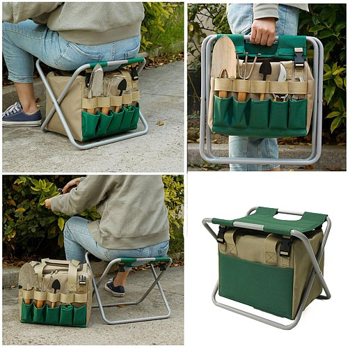 40# Portable Garden Tool Storage Bag Handle Gardening Tools Storage Pouch Hanging Storage Bags Pockets For Home Garden