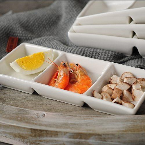 3 Grid Seasoning Dish Ceramic Sauce Pan Snack Gravy Boats Dessert Bowl Plate Set Kitchen Restaurant Household Soy Sauce Dish