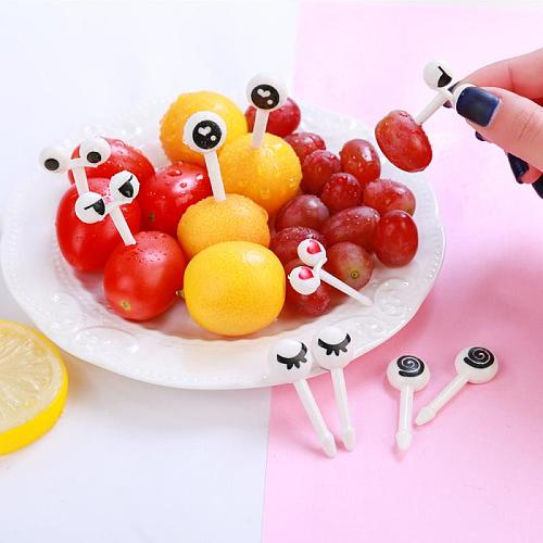 10pcs Creative Fruit Fork Mini Children Snack Cake Dessert Food Fruit Pick Toothpick Bento Lunches Party Decoration Dropshipping