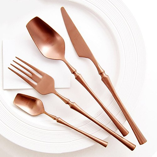 24Pcs Cutlery Set Forks Knives Spoons Dinnerware Set Stainless Steel Tableware Western Silver Silverware Flatware Utensils Set
