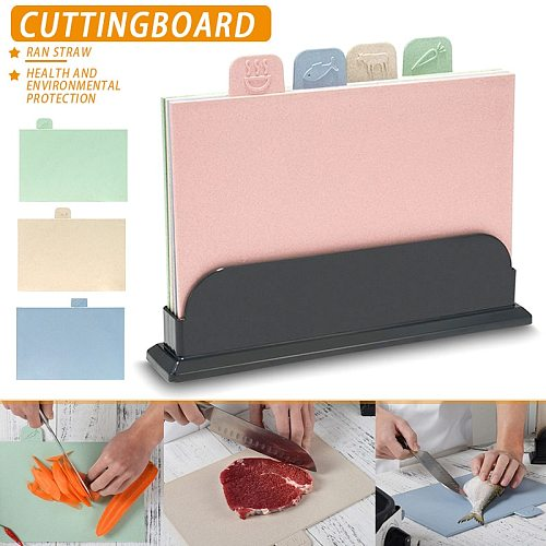 4Pcs/set Wheats Straw Cutting Board Non-slip Vegetable/Fruit/Meats/Bread Chopping Boards with Storage Base LKS99