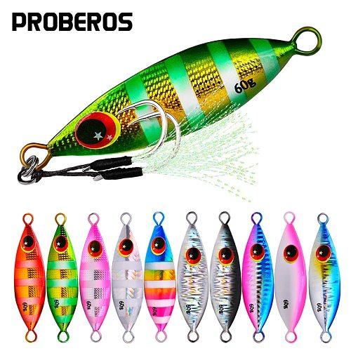 PROBEROS 5Pcs/lot Metal Jig Spoon Lures 10g-20g-30g-40g-60g Artificial Baits Shore Slow Jigging Hard Lead Bass Fishing Lures