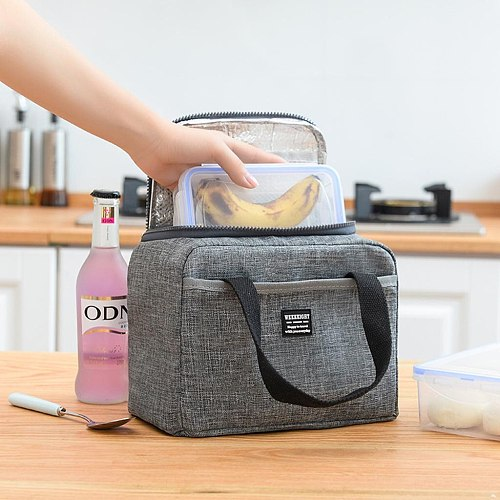 Portable Insulated Lunch Bag Totes Soft Cooler Bag Food Fruit Storage Organizers Totes Handbag Waterproof Thermal Picnic Boxes