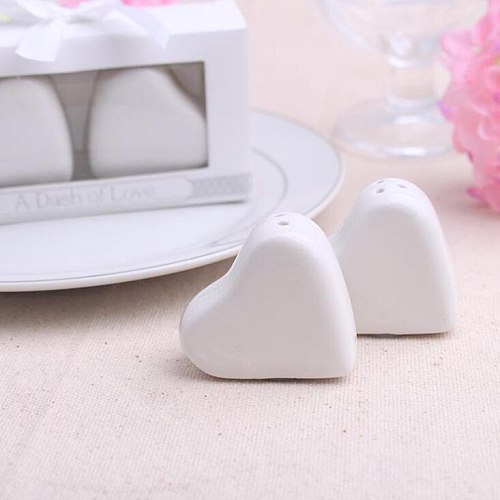 200pcs White heart-shaped ceramic pepper shaker Love Salt and Pepper bottle Creative Wedding Gift and Favor