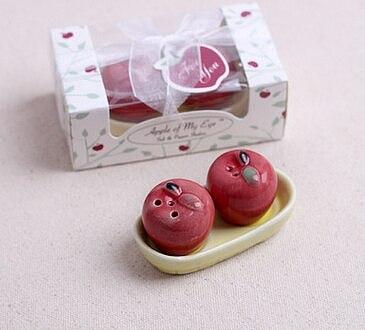100sets/Lot  Apple Salt and Pepper Shaker Ceramic baby shower party Wedding Decoration gift Ceramic with guest Keepsake