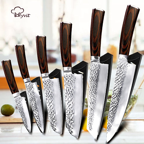 Chef Knife for Kitchen Knives 5 7 8 inch High Carbon Stainless Steel 7CR17 440 Meat Fish Utility Paring Knife Cutter Cooking