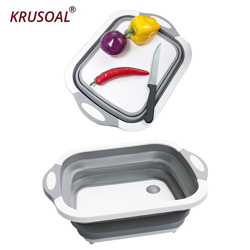 Foldable chopping Blocks Cutting Board Kitchen Washable Vegetable Fruit Washing Basket Sinks Drain outdoor camping Kitchen tools