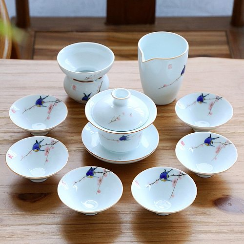 tea set ceramic Jingdezhen porcelain gaiwan tea cup saucer lid handpainted Chinese kungfu tea sets complete tureen set new