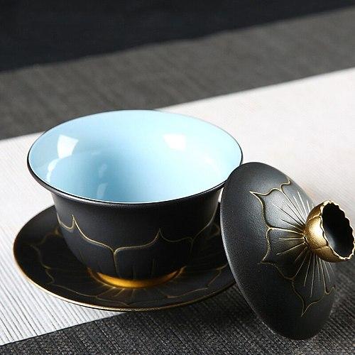 Lotus Ceramic Tureen Kung Fu Tea Creative Handmade Gaiwan Cup with Saucer Lid Bowl Cover Set Pottery Teacup Tea Set Decor Crafts