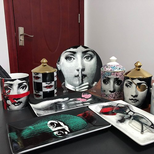 Creative Human Face Plate Jewelry Storage Dish Ornaments Rectangular Tray Candle Holder Jar Candelabra Home Decoration