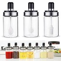 Kitchen Glass Seasoning Bottle Salt Storage Box Spice Jar with Spoon Salt Sugar Pepper Powder Jar Kitchen Cooking Supplies