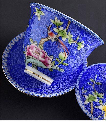 Enamel Flower Big Tea Bowl with Saucer Lid Kit Master Tea Tureen Ceramic Bird Gaiwan Porcelain  Drinkware Gift Home Decor Crafts