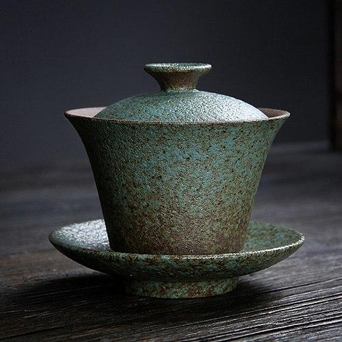 Ceramic Coarse Pottery Gaiwan 130ml Japanese Retro Tea Tureen Tea Bowl Lid Saucer Teapot Teaware Drinkware Decor