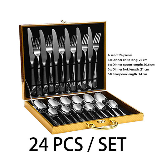 Bright gold stainless steel cutlery, travel cutlery, dishwasher safe dinner set, plates and plates 24 pieces reusable cutlery
