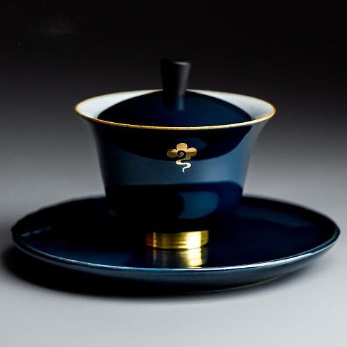 Blue Gaiwan  traditional porcelain tea tureen teacups white  Jingdezhen chinese tea set lid cups saucer teaware cover bowl