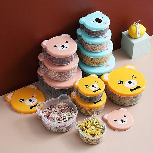 4pcs Children Plastic Cartoon Cute Bento Box Japanese Outdoor Food Storage Container Kids Student Microwave Lunch Box Utensils