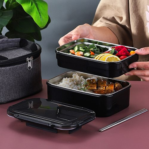 304 Stainless Steel Lunch Box for Kid New Single Layer or Double Layers Bento Box for Student Food Container Case for Office New
