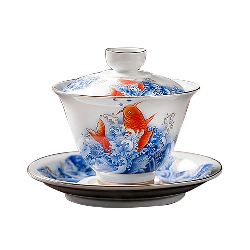 145ml Ceramic Tea Tureen Porcelain Gaiwan Carp Tea Bowl Saucer Lid Set Tea Party Teaware Drinkware Container Cup Decor Crafts