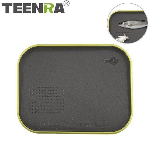 TEENRA Non-slip Chopping Board Double Sized Cutting Block Multifunction Fruit Vegetable Meat Chopping Board Leakproof Tools