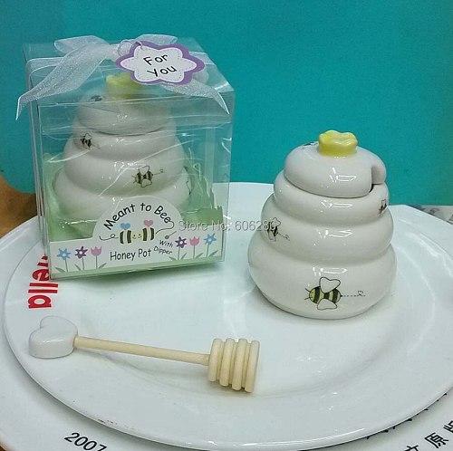 40pcs/lot ceramic bee honey pot candy pot wedding bridal showers baby baptism party return gift souvenirs supplies