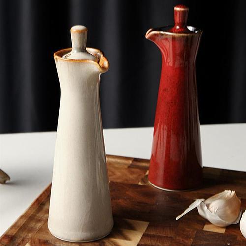 Ceramic Gravy Porcelain Olive Oil Pot Soy Sauce Vinegar Seasoning Can Oil Bottle Wood Lid Seasoning Box Kitchen Storage Tools