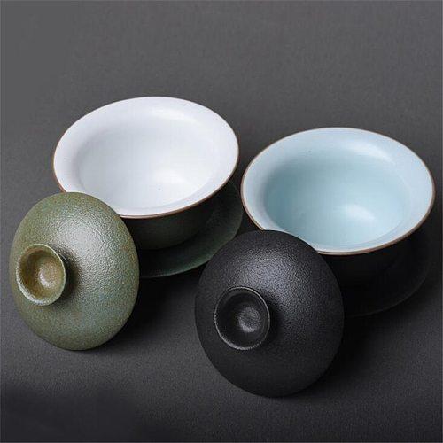 160ML Ceramic Porcelain Gaiwan Teaware Cover Bowl Tea Tureen Teaware Sancai Teacup Kungfu Tea Set Toast Bowl Japanese Tea Cup