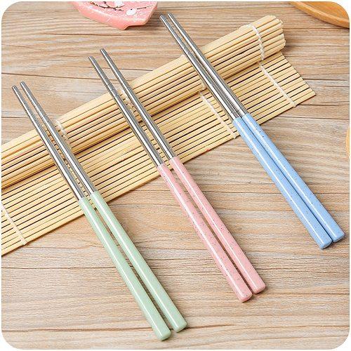 Stainless Steel Chopsticks Korean Chopsticks Sticks for Food Non-slip Metal Reusable Food Sticks Sushi Kitchen Accessories Tools