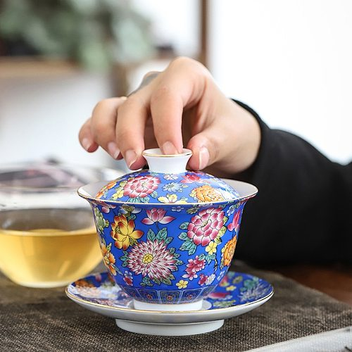 160ML 5.4oz Jingdezhen Ceramic Gaiwan Tea Tureen Chinese Tea Bowl Master Teacup Porcelain Teaset Drinkware Teaware Accessorie