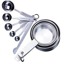 UPORS 8/10Pcs Stainless Steel Measuring Cups and Spoons Set Deluxe Premium Stackable Tablespoons Home Tools Kitchen Accessories
