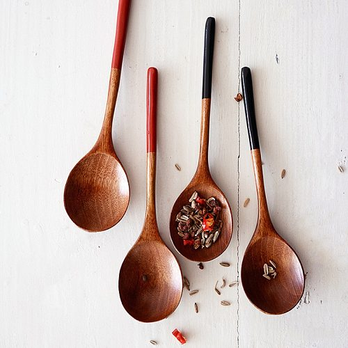 2Pcs Wooden Spoons Japanese Style Soup Spoon Small Wood Spoon Set Teaspoon Kids Ice Cream Dessert Spoon Kitchen Wooden Tableware