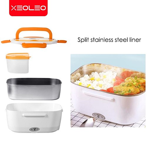 XEOLEO  Electric Heating Lunch Box Car Office School Food Warmer Container Heater Stainless Steel Bento Box Set 220V 110v