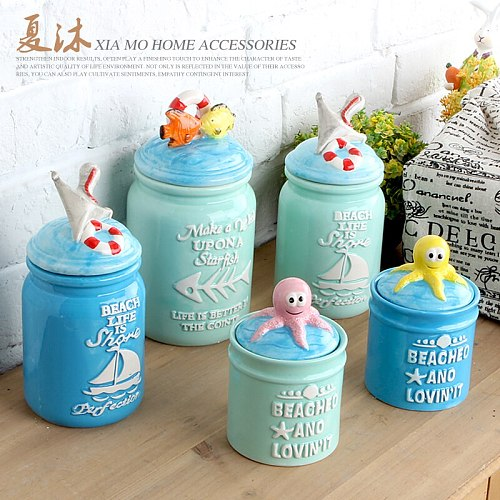 Ceramic pot storage tank snacks sealed cans home decoration octopus