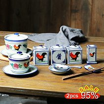 Blue and white rooster porcelain seasoning jar Restaurant Household Kitchenware toothpick box salt sugar chili Pots