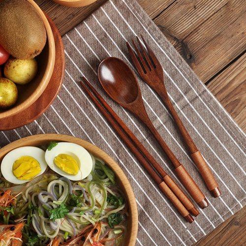 Kitchen Wooden Fork Spoon Chopsticks 3pcs/Set New Gift Tableware Portable Utensils Japanese Style Dinnerware 2021 cocina