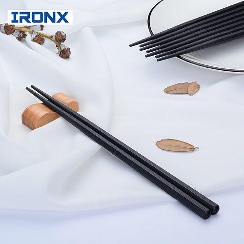 IRONX Japanese sushi hashi chopsticks long alloy sticks  household kitchen anti resable black chop sticks.