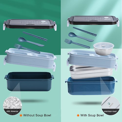 New Lunch Box Bento Box for Student Office Worker Double-layer Microwave Heating Lunch Container Food Storage Container