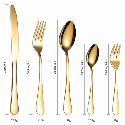 Stainless Steel Cutlery Set Rainbow 20Pcs Forks Spoons Knifes Full Tableware Dinner Set Spoon and Fork Set Complete Dropshipping