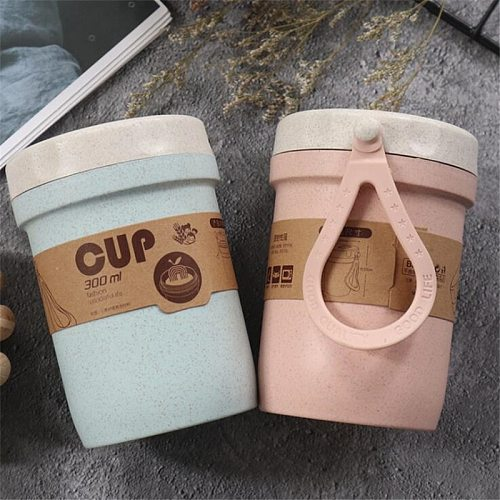 300ml Healthy Material Wheat Straw Sealed Soup Cup With Lid Water Breakfast Portable Lunch Box Microwave Dinnerware Food