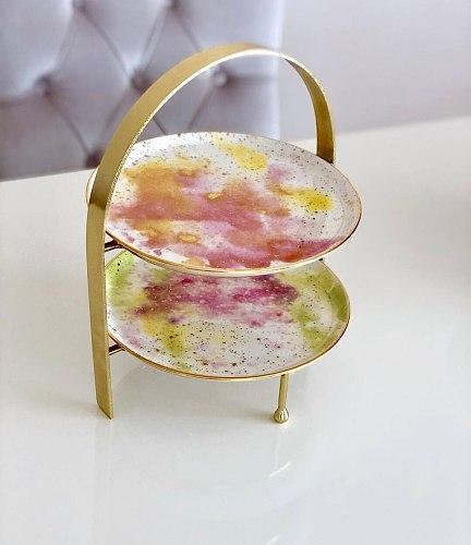Gold Color Shelf 2 Storey Elegant Decoration Design Presentation Fruit Vegetable Candy Chocolate Kitchen Living Room Office