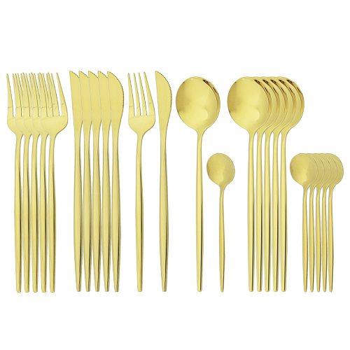 24Pcs Gold Cutlery Set Knife Fork Coffee Spoon Tableware Set Stainless Steel Dinnerware Set Western Kitchen Dinner Tableware Set