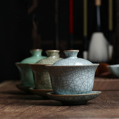 marked longquan celadon gaiwan crackle glaze porcelain tureen with cup saucer covered bowl lid 150ml creative iron line design