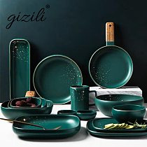 GIZILI High Fashion Retro Green Dinner Plates Set Nordic Ceramic Tableware Dinnerware Set Bowl Plate Soup Bowl Set Modern Style