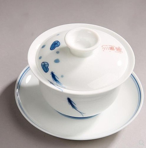 140ML Jingdezhen Sancai Gaiwan Big Size Blue and White Porcelain Tureen Ceramic Tea Strainer Cup Chinese Kung Fu Tea Ceremony