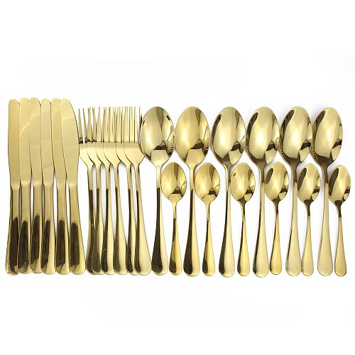 16pcs Shiny Cutlery Sets Wedding Tableware Silverware Travel Cutlery Set Copper Rosy Forks Knives SpoonsDropshipping