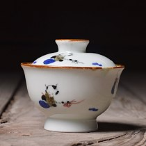 Japanese hand-painted Chinese white porcelain white only tureen tea bowl kung fu of pervious to light three cups