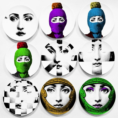 6  7  8  Italy Fashion Lady Face Plate Decorative Wall Plate Theme and Variation Wall Dishes Ceramic Decor Europe Wall Dish