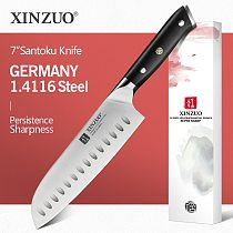 XINZUO 7'' inch Santoku Knife GERMAN 1.4416 Steel High Carbon Kitchen Knife Stainless Steel Chef Knives Cooking Accessory Tools
