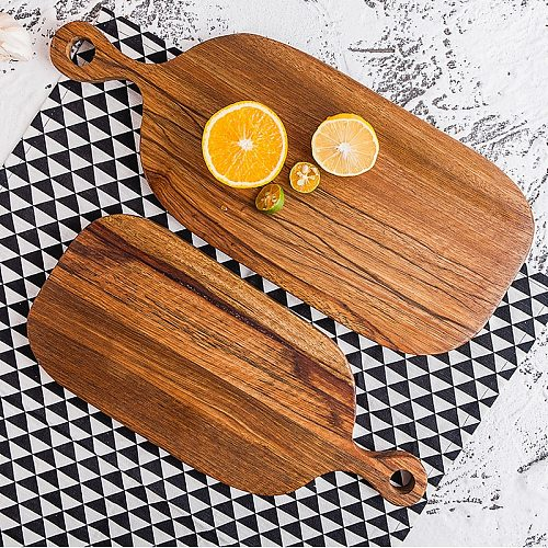 Solid Color A Snack Fruits Chopping Block Dessert Bakery Café Tableware Chopping Board Baking Tool Solid Wood Bread Plate