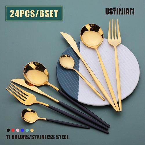 Stainless Steel Gold Cutlery Set 24Pcs/6Set Steak Knife Fork Spoon Set Dinnerware Tableware Sets Of Dishes Dinner Spoon Settings